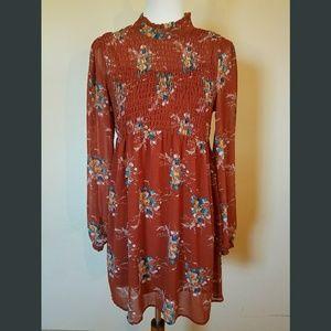 NWOT! FALL FAV! Floral Print, Rust Colored Dress
